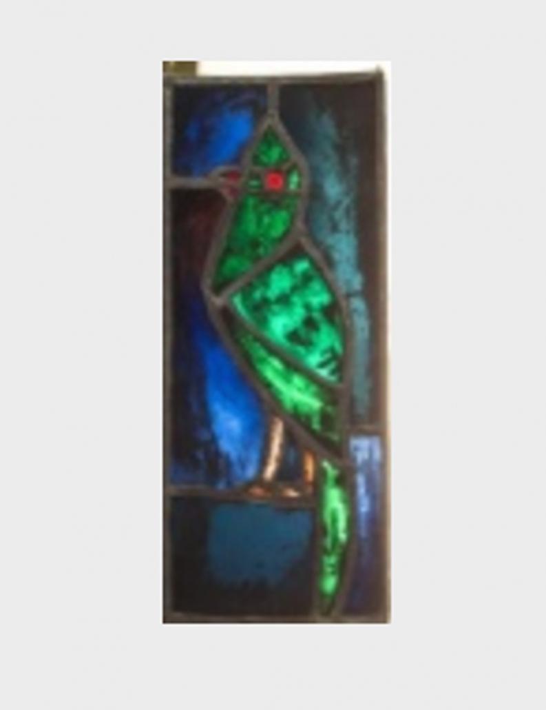 Gian Casty Glasmalerei - Grüner Kakadu Glaskunst zur Auktion in der Schweiz