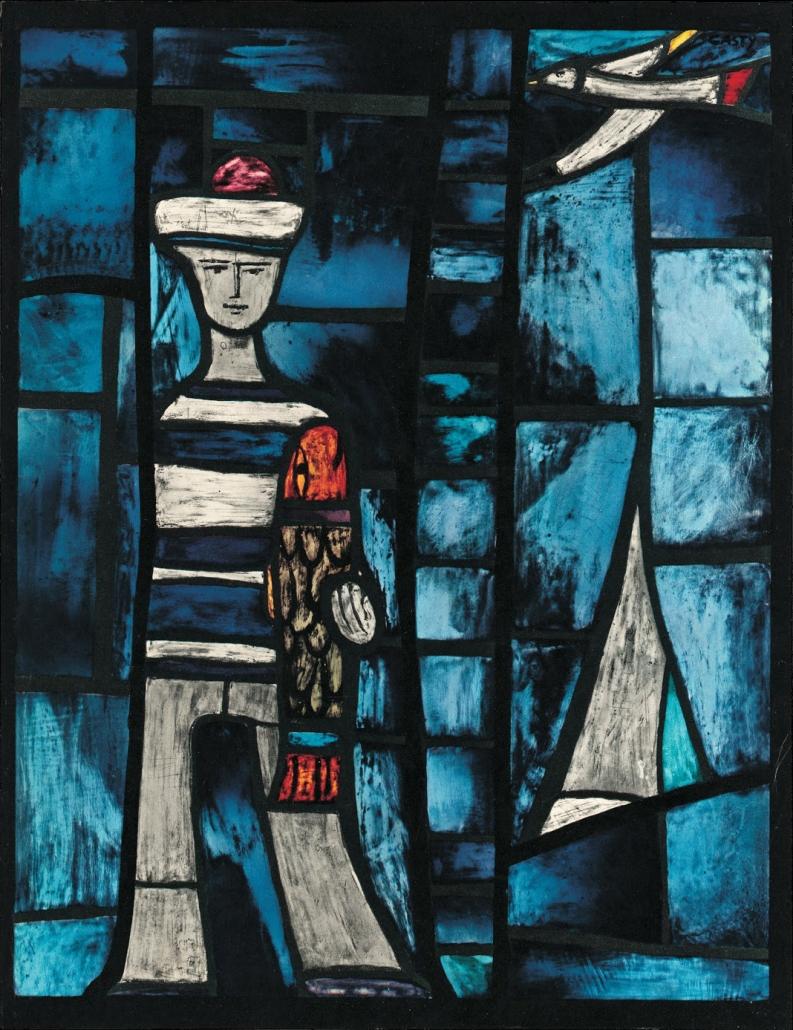 Gian Casty Glaskunst - Der Matrose; ein Glasbild aus Zuoz